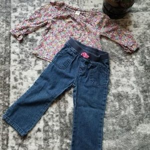 2T Outfit Jean and Long Sleeve Shirt